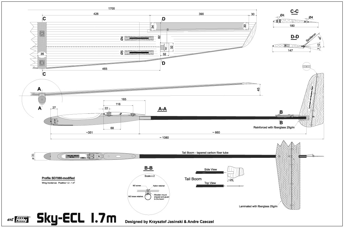 Electric powered glider Sky-ECL 1,7m - Image 3